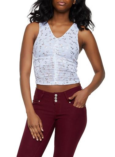 Foil Anchor Print Knit Top,WHITE,large