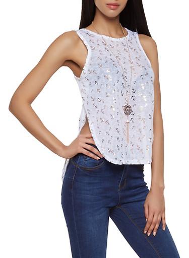 Anchor Print Knit Tank Top with Necklace,WHITE,large