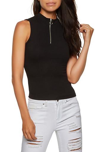 Half Zip Mock Neck Top,BLACK,large