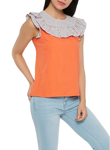 Striped Ruffle Yoke Top,ORANGE,large