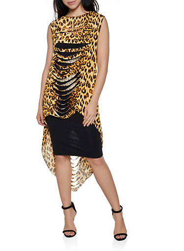 Animal Print Slashed High Low Top,BROWN,large