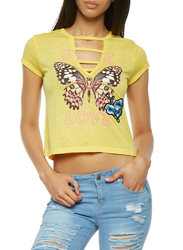 Butterfly Graphic Tee,YELLOW,large