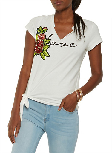 Sequin Patch Love Graphic Tee,WHITE,large