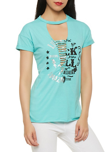 Graphic Lace Up Tee,GREEN,large