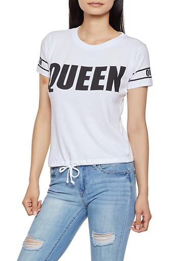 Queen Drawstring Hem Tee,WHITE,large