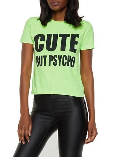 Cute But Psycho Tee,NEON LIME,large