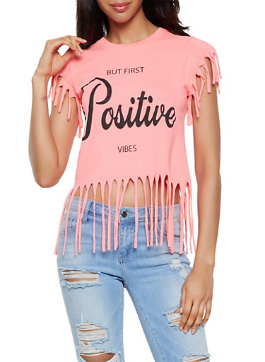 Positive Vibes Graphic Fringe Tee,NEON PINK,large