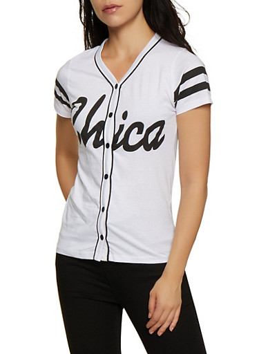 Chica Baseball Tee,WHITE,large