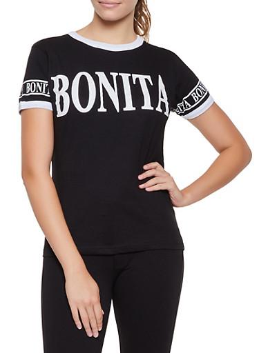 Bonita Contrast Trim Tee,BLACK,large