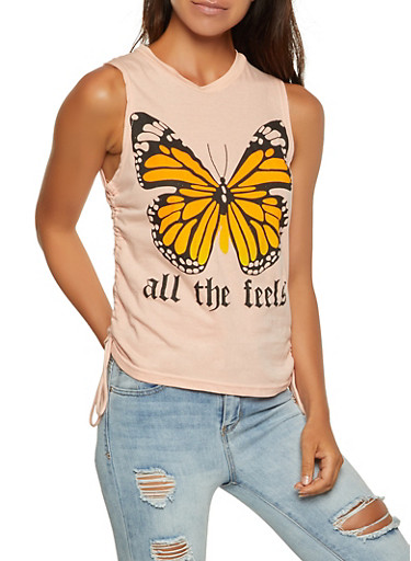 All The Feels Butterfly Tank Top,MAUVE,large