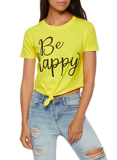 Be Happy Graphic Crop Top,YELLOW,large