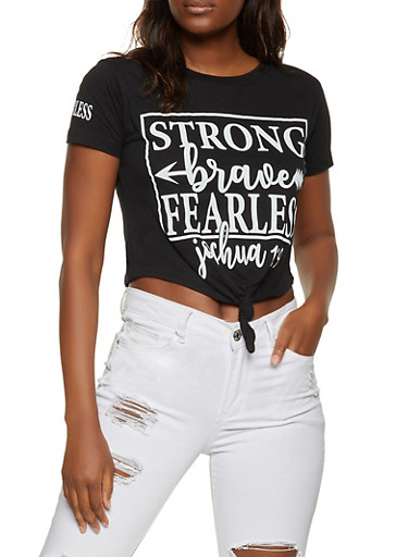 Strong Brave Fearless Knot Front Crop Top,BLACK,large