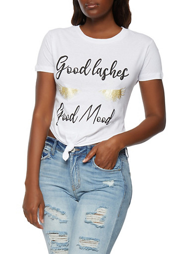 Good Lashes Good Mood Knot Front Crop Top,WHITE,large