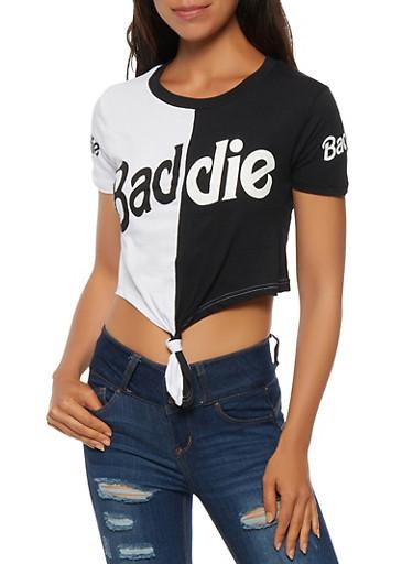 Baddie Color Block Crop Top,WHT/BLK,large