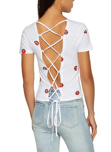Lip Print Lace Up Back Top,WHITE,large