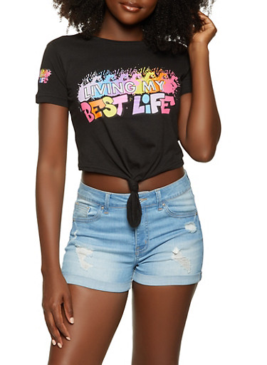 Living My Best Life Knot Front Crop Top,BLACK,large