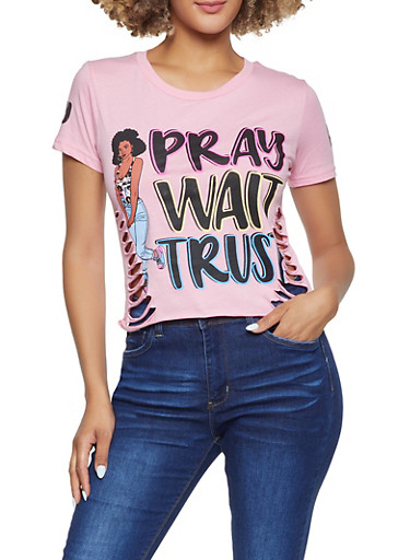 Pray Wait Trust Laser Cut Tee,PINK,large