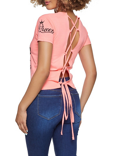 Queen Of Everything Lace Up Back Top,NEON PINK,large