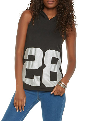 Number Graphic Hooded Top,BLACK,large