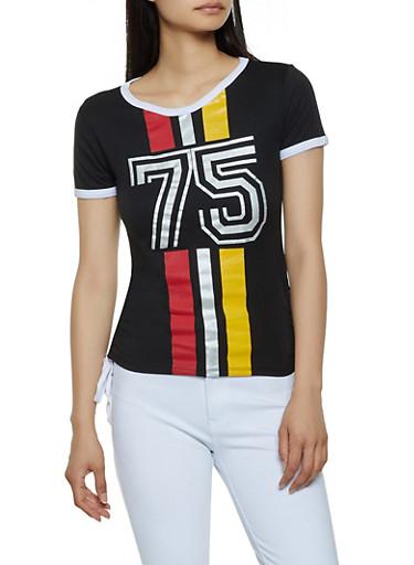 75 Vertical Stripe Graphic Tee,BLACK,large