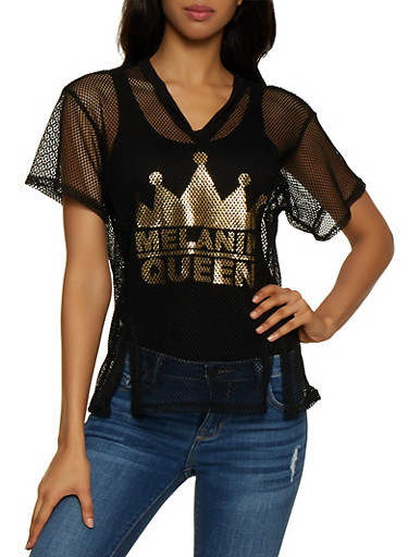 Fishnet Melanin Queen Tee,BLACK,large