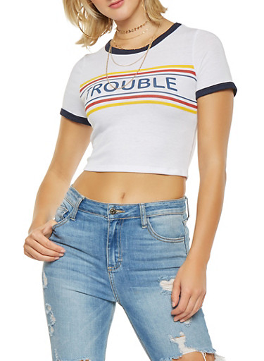Trouble Graphic Cropped Tee,WHITE,large