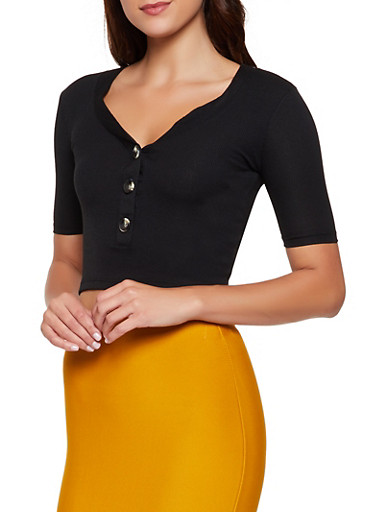 Ribbed Half Button Crop Top,BLACK,large