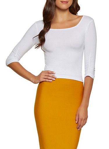 Ruched Sleeve Square Neck Top,WHITE,large
