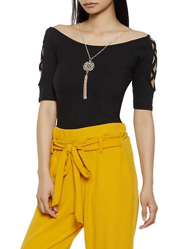 Caged Shoulder Top with Necklace,BLACK,large
