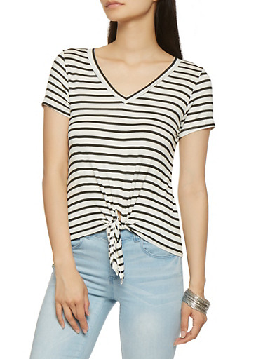 Striped Tie Front Tee,WHT-BLK,large