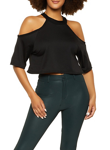 French Terry Cropped Cold Shoulder Top,BLACK,large