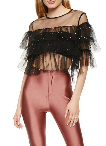 Studded Mesh Tiered Crop Top,BLACK,large