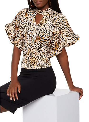 Animal Print Structured Sleeve Top,BROWN,large