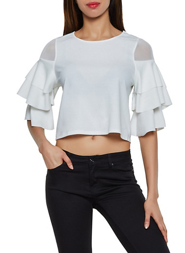 Mesh Insert Tiered Sleeve Top,WHITE,large