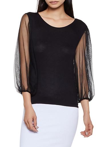 Mesh Long Sleeve Top,BLACK,large