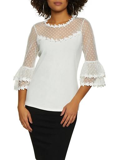 Flower Crochet Trim Top,WHITE,large