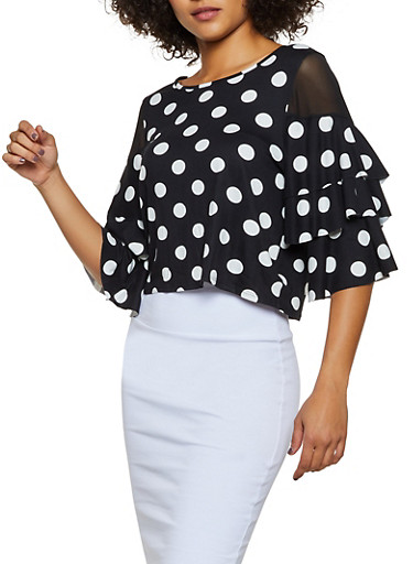 Polka Dot Mesh Insert Top,BLACK/WHITE,large