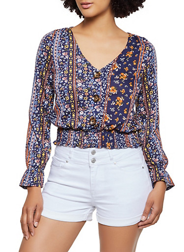 Floral Border Print Button Front Top,NAVY,large