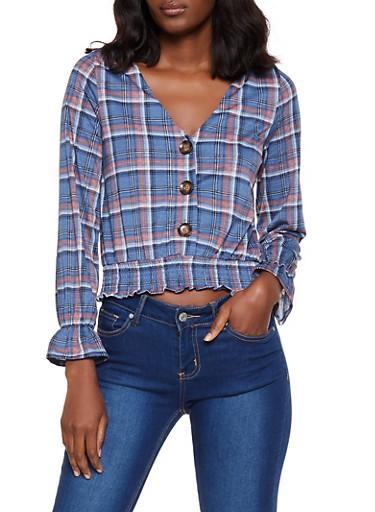 Plaid Smocked Hem Shirt,BLUE,large