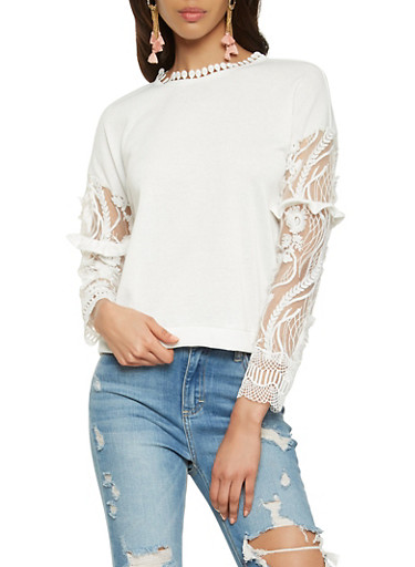 Embroidered Mesh Sleeve Top,WHITE,large