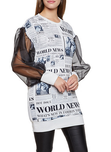 Magazine Print Tunic Top,BLACK/WHITE,large