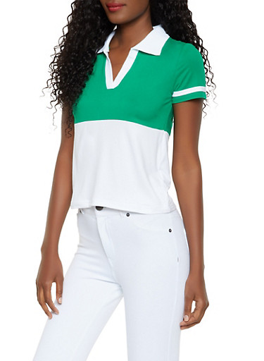 Color Block Polo Shirt,GREEN,large
