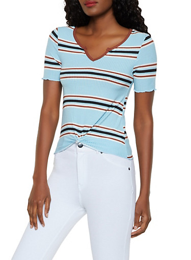 Striped Rib Knit Knot Front Top,CHAMBRAY,large