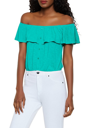 Faux Button Off the Shoulder Crop Top,JADE,large