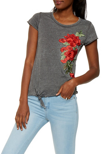 Rose Patch Tee,CHARCOAL,large