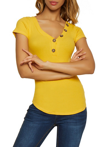 Ribbed Knit Button Tee,MUSTARD,large