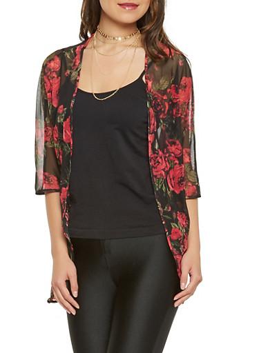Floral Mesh Open Front Kimono,BLACK,large