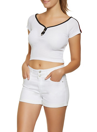 Striped Shoulder Detail Crop Top,WHITE,large