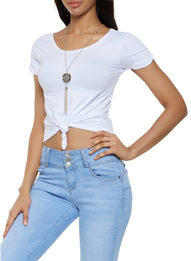 Tie Front Tee with Necklace,WHITE,large