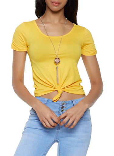 Tie Front Tee With Necklace by Rainbow